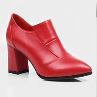 Для женщин Обувь на каблуках Удобная обувь Кожа Лето Повседневные На толстом каблуке Черный Красный 7 - 9,5 см 06100254