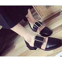 Для женщин Сандалии Удобная обувь Натуральная кожа Полиуретан Лето Повседневные Черный Желтый Красный Менее 2,5 см 06097955