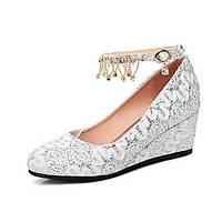 Женская обувь под заказ материалы падения комфорт новинка каблуки клин пятка круглый носок для свадьбы&вечерний красный белый 06260002