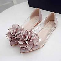 Для женщин На плокой подошве Удобная обувь ПВХ Лето Повседневные Цветы На плоской подошве Прозрачный каблука Черный Серый ПурпурныйНа 05312447
