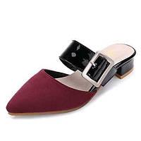 Черный Синий Вино-Для женщин-Для праздника-Замша-На низком каблуке-Удобная обувь-Сандалии 05688004