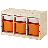 ТРУФАСТ Стеллаж с ящиками, белый, оранжевый, , 491.026.53