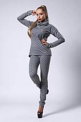Модный молодёжный костюм из трикотажа с начёсом под пояс 42, 44, 48 серый