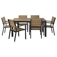 ФАЛЬСТЕР, стол+6 стульев с podłok., на зов.