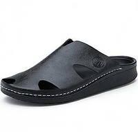 Для мужчин обувь Кожа Лето Удобная обувь Тапочки и Шлепанцы Назначение Повседневные Черный Коричневый Синий 05278371