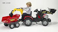 Детский трактор на педалях с самосвальным двухосным прицепом Falk Mac Cormick (1030W)