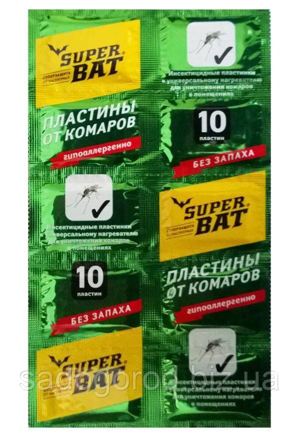 Super Bat пластины от комаров без запаха зеленые