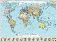 Карта мира политическая 1:15 000 000 картонная на планках
