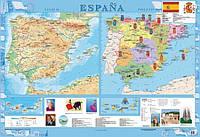 Карта Испании политико-административная и физическая