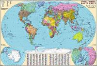 Карта мира политическая 1:32 000 000 картонная на планках