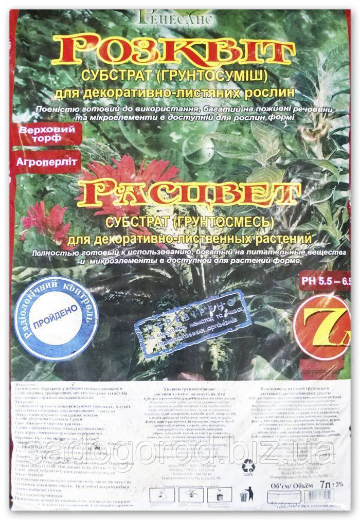 """Субстрат """"Расцвет"""" для декоративно-лиственных, 7 л"""