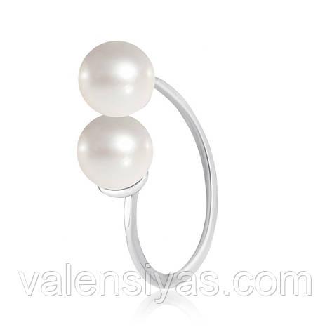 Срібне кільце з перлами натуральним культивованими К2Ж/441, фото 2