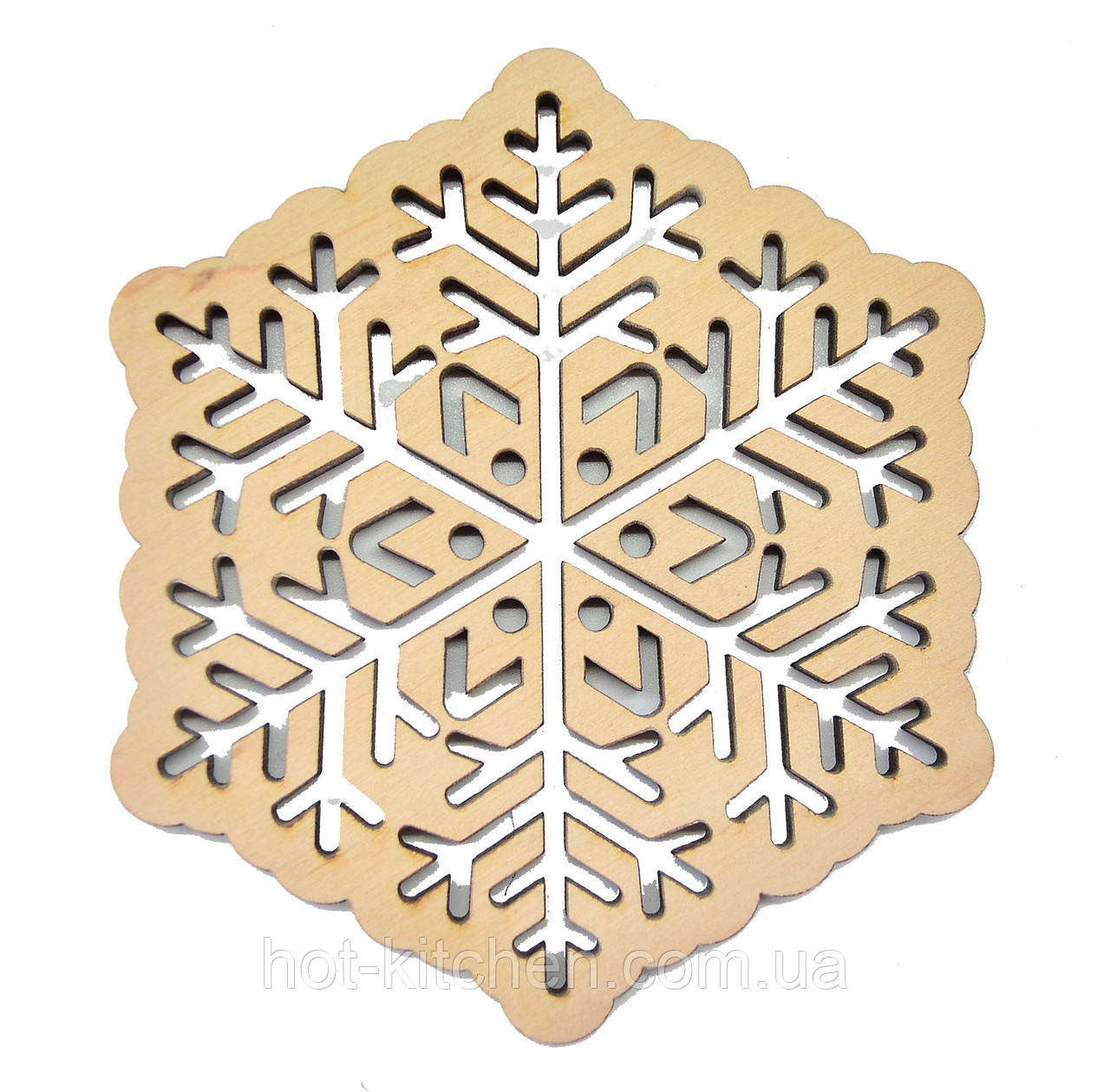 Деревянная новогодняя игрушка заготовка. Снежинка