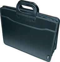 Портфель пластиковый В4 3отделения, карман, на молнии, черный, Optima