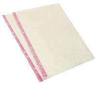 Файл А4, плотность 40 мкм, глянцевый прозрачный с розовой перфорацией, Optima