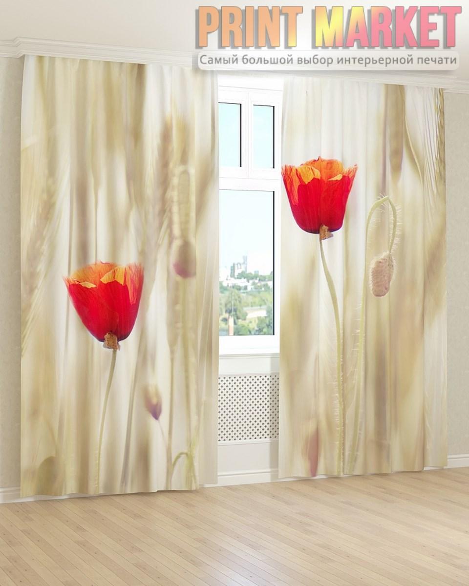 Фото шторы красные цветы 3d