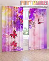 Фото шторы цветы и бабочки над водой