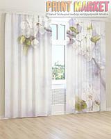 Фото шторы цветущая белая ветка 3Д