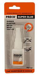 "Клей супер, для резины, метала, пластика, дерева, текстиля, объём 5 грамм, производитель""Pasco"","