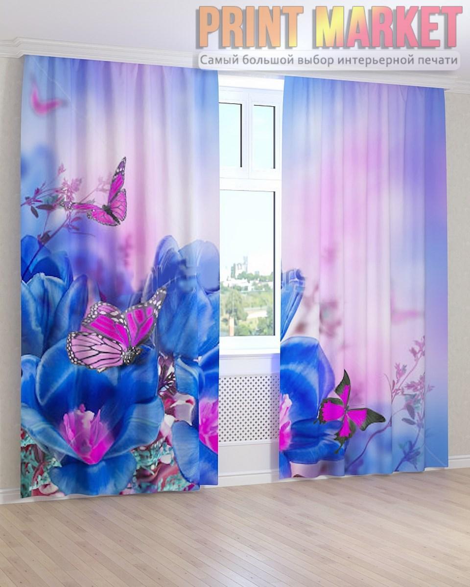 Фото шторы синие тюльпаны и бабочки 3д - Принт Маркет в Днепре