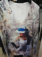 Свитер из ангоры Kazee девушка в шляпке
