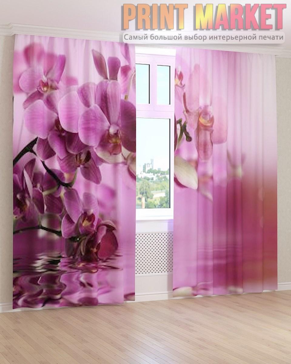 Фото шторы вода и розовая орхидея