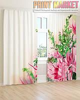 Фото шторы розовый букет