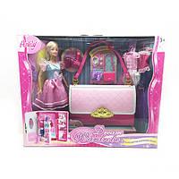 Мебель 99046  гадероб в виде сумочки, кукла 29см, аксессуары, в кор-ке,41-33-9см