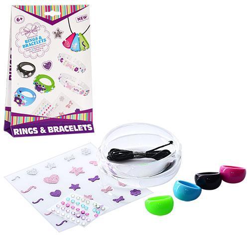 Набор для творчества 15002  браслет 2шт,колечко 4шт,наклейки,резинка, в кор-ке,13,5-21,5-3см