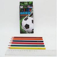 """Цветные карандаши 12 цветов пластиковые """"Гол!"""" в картонной упаковке, J.Otten"""