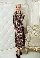 Платье  Беби-дол клетка коричневая миди