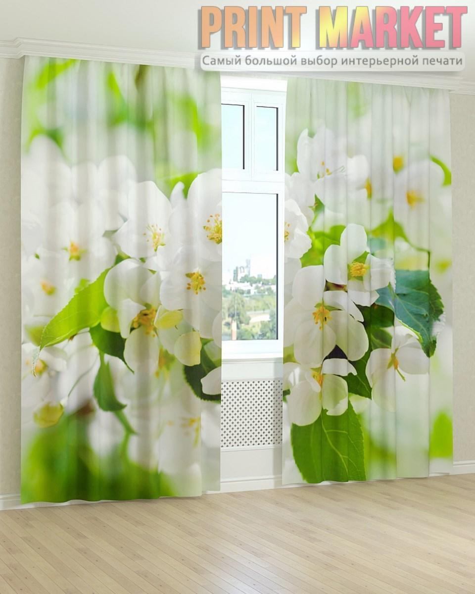 Фото шторы листья и белые цветы 3d