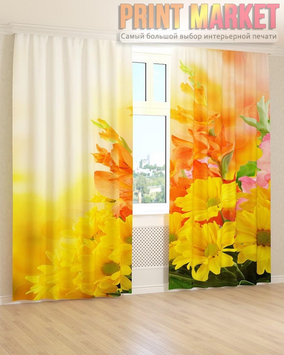 Фото шторы оранжевые и желтые цветы