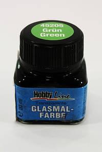 "Краска по стеклу и керамике зеленая прозрачная, 20мл, ""Hobby Line"", Kreul"