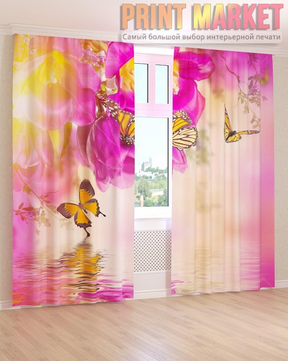 Фото шторы желтые бабочки и цветы