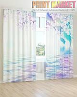 Фото шторы вода и цветы 3D