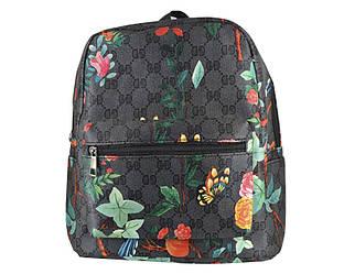 Рюкзак с принтом серый в цветы