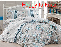 """Комплект постельного белья FIRST CHOICE Ранфорс """"Peggy!"""" turkuaz Евро"""
