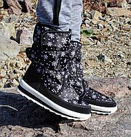 Женские зимние дутики черные со снежинками №38