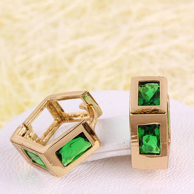 008-4391 - Позолоченные серьги с изумрудно-зелёными фианитами