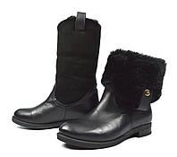 Черные зимние женские кожаные полу-сапоги EVROMODA на меху (цигейка)
