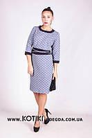 """Модное женское платье с имитацией пояса """"жаккард"""" 52, 54, 56 размер батал"""