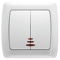 Выключатель 2-кл. с подсветкой белый ViKO Carmen 90561050