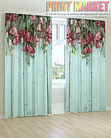 Фото шторы розовые и бордовые цветы