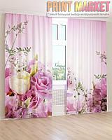Фото шторы белые и фиолетовые цветы 3Д