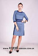 """Модное женское платье с имитацией пояса ткань """"Ангора"""" 50 размер батал"""