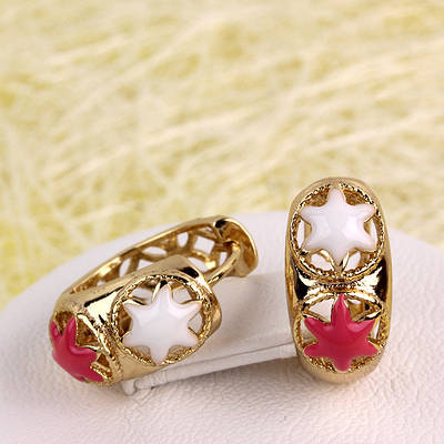 008-4444 - Позолоченные серьги с розовой и белой эмалью