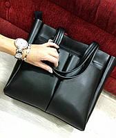 Женская сумка материал эко кожа высокого качества, карманы на змейке. Цвет черный