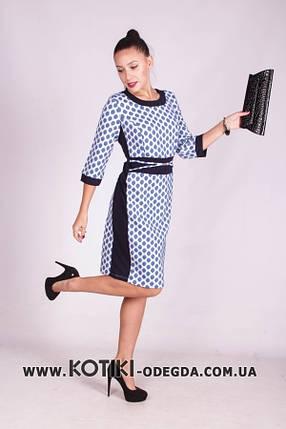 """Модное и элегантное женское платье с имитацией пояса ткань """"Жаккард"""" 52, 54, 56 размер батал, фото 2"""