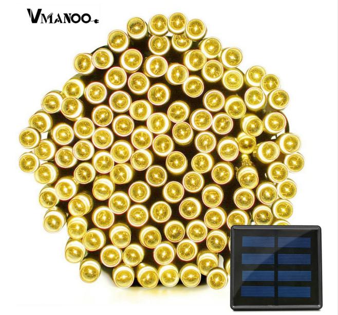 Светодиодная гирлянда на солнечной энергии 22м 200 LED желтый